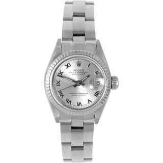 Pre-owned Rolex Women's Datejust Stainless Steel Silver Dial Oyster Automatic Watch