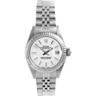 Pre-owned Rolex Women's Datejust Stainless Steel White Dial Automatic Watch