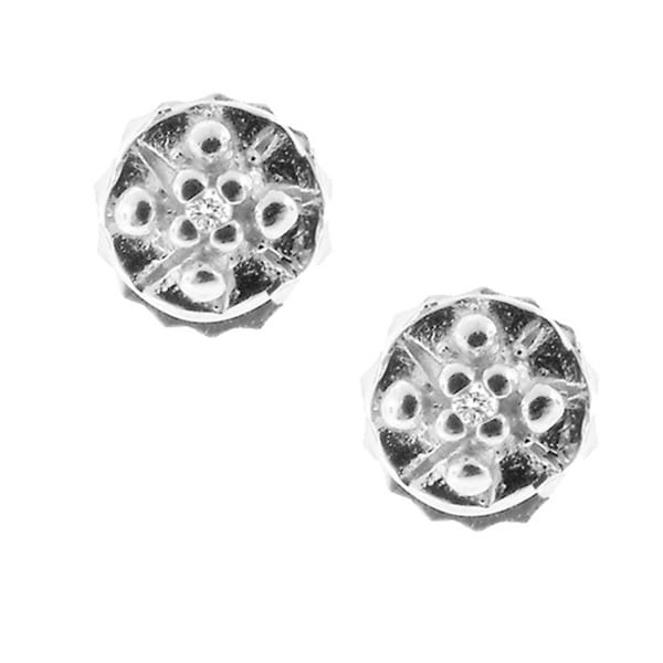 Gioelli Sterling Silver Ridged Diamond Stud Earrings