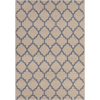 Mandara Tan/Blue Indoor/Outdoor Rug (7'10 x 11'2)