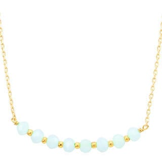 18k Goldplated Aqua Crystal Beaded Necklace
