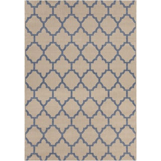 Mandara Tan/Blue Indoor/Outdoor Rug (5'3 X 7'7)