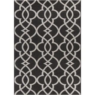 Mandara Black/Beige Indoor/Outdoor Rug (3'11 x 5'7)