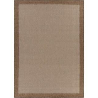 Mandara Brown/Tan Indoor/Outdoor Border Rug (3'11 x 5'7)