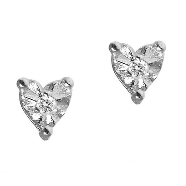 Gioelli Sterling Silver Heart-shape Diamond Accent Stud Earrings