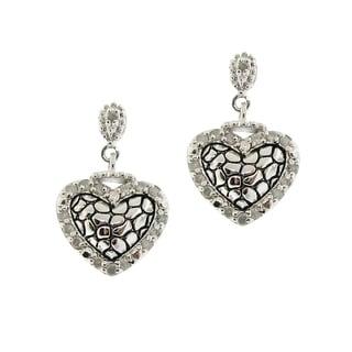 Gioelli Sterling Silver 1/3ct TDW Diamond Heart Shape Dangle Earrings (H-I, I2-I3)