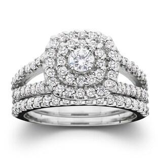 10k White Gold 1ct TDW Diamond Halo Wedding Ring Set