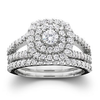 10k White Gold 1ct TDW Diamond Halo Wedding Ring Set(G-H, I2-I3)