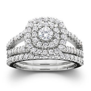10k White Gold 1ct TDW Diamond Halo Wedding Ring Set(I-J, I2-I3)