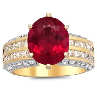 14k White Ladies Diamond and Rubelite Ring