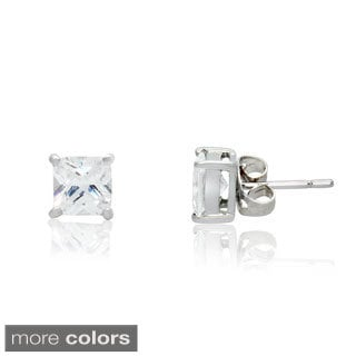 Gioelli Sterling Silver Cubic Zirconia Four Prong Square Stud Earrings