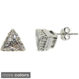 Gioelli Sterling Silver Cubic Zirconia Triangle Stud Earrings