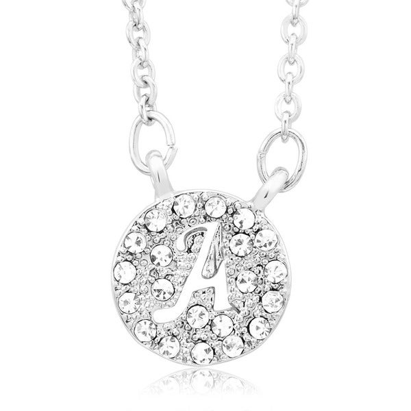 Sterling Silverplated Cubic Zirconia Initial Cut-out Disk Pendant Necklace
