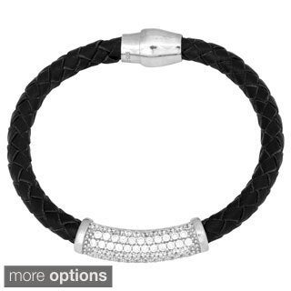 La Preciosa Sterling Silver and Black Leather Cubic Zirconia Magnetic Bracelet
