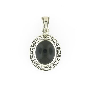Handmade Onyx and Sterling Silver Thick Edge Oval Pendant (Thailand)