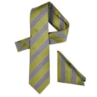 Vance Men's Wool Blend Microfiber Patterned Tie and Hanky Set