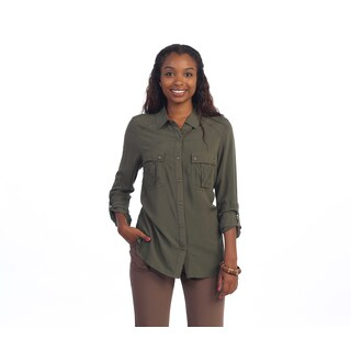Hadari Women's Olive Button-down Blouse