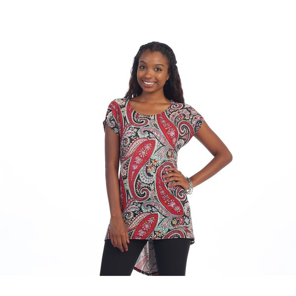 Hadari Women's Red and Black Paisley Tunic