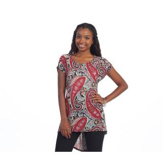 Hadari Women's Red and Black Paisley Tunic