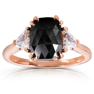 Annello 10k Rose Gold 2 1/4ct TDW Cushion Trillion-cut Black and White Diamond Ring (G-H, VS1-VS2)