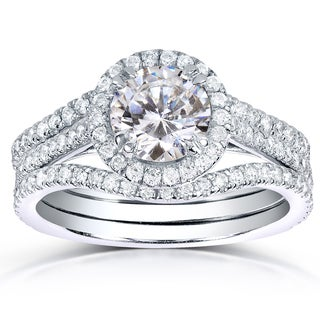 Annello 14k White Gold 1 3/4ct TDW Round-cut Halo Diamond 3-piece Bridal Ring Set (H-I, I1-I2)