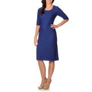 R & M Richards Women's Royal Blue Novelty Fabrication Dress