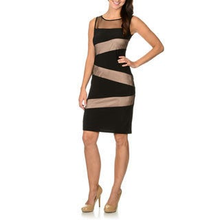 R & M Richards Women's Mesh Asymmetrical Stripe Illusion Dress