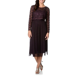 R & M Richards Women's Eggplant Mock 2-piece Lace Popover Midi Dress