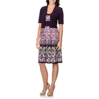 R & M Richards Women's Purple Printed 2-piece Dress Set