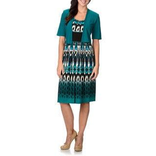R & M Richards Women's Teal Printed 2-piece Dress Set