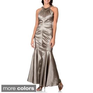 R & M Richards Women's Beaded Neckline Mermaid Evening Gown
