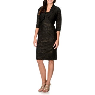 R & M Richards Women's Metallic Waves Center Panel 2-piece Sheath Dress