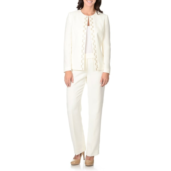 Tahari by Arthur S. Levine Women's Cloud White Embroidery Detail Pant Suit