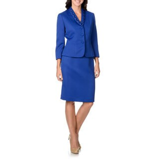 Tahari by Arthur S. Levine Women's Cobalt Laser-cut Collar Skirt Suit