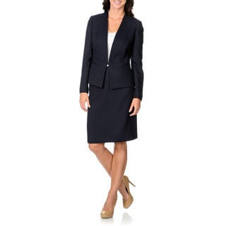 Tahari by Arthur S. Levine Women's Navy Chevron Fabrication Skirt Suit