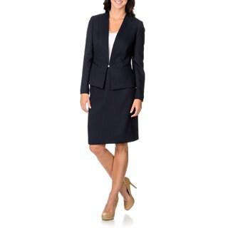 Tahari by Arthur S. Levine Women's Navy Chevron Fabrication Skirt Suit