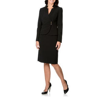 Tahari by Arthur S. Levine Women's Black Chevron Fabrication Skirt Suit