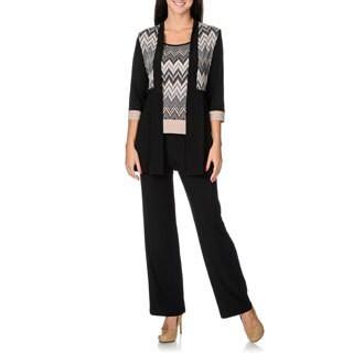R & M Richards Women's Mock 3-piece Zig-zag Unstructured Pant Suit