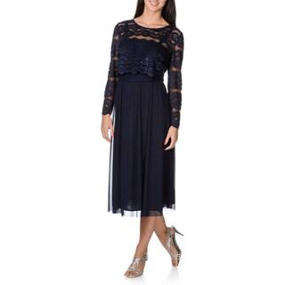 R & M Richards Women's Mock Two-piece Lace Midi Dress
