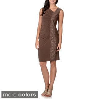 R & M Richards Women's Ruched Glitter Detail Dress