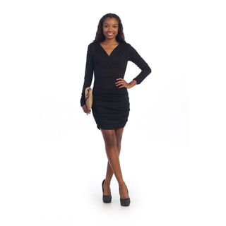 Hadari Women's Black Long-sleeve Sheath Dress