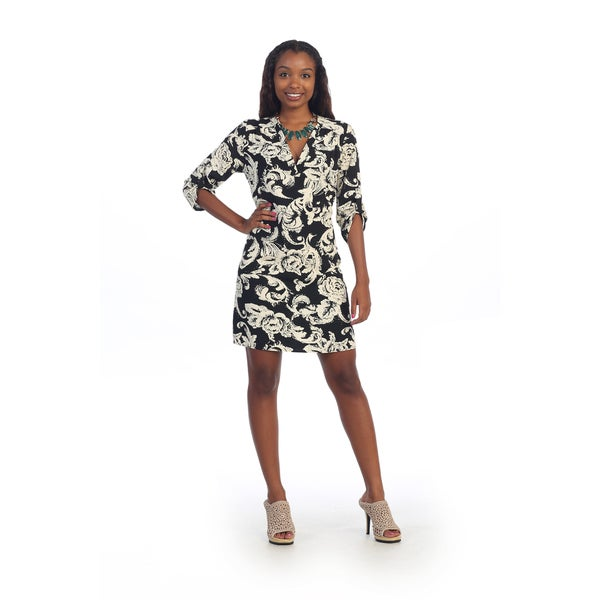 Hadari Women's Black and Ivory Print Shift Dress