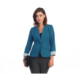 Hadari Women's Green Striped Cuffed Single Button Blazer