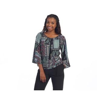 Hadari Women's Multi Pattern Casual Round Neck Top