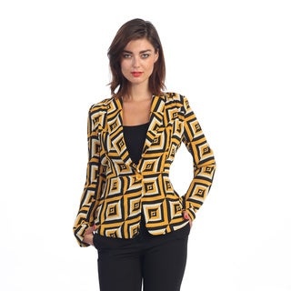 Hadari Women's Black/ Yellow Geo Chevron Blazer