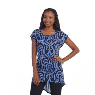 Hadari Women's Black/ Blue Brocade Tunic Top