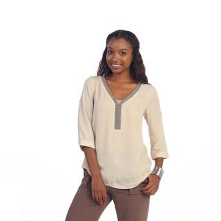 Hadari Women's Beige 3-button Blouse