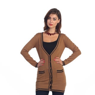 Hadari Women's Brown Button-up Cardigan