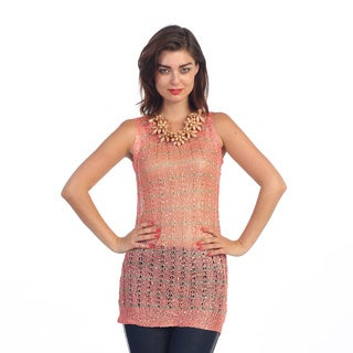 Hadari Women's Coral Open Knit Sleeveless Tunic