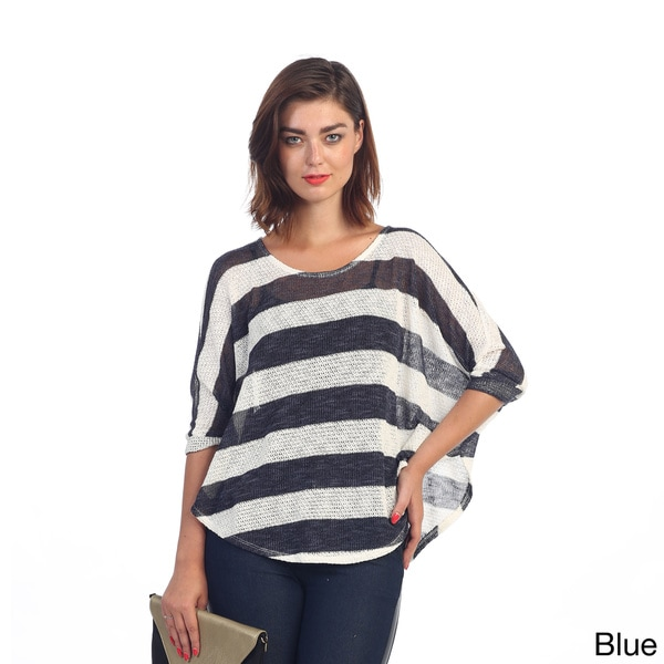 Hadari Women's Beige and Navy Dolman Knit Top